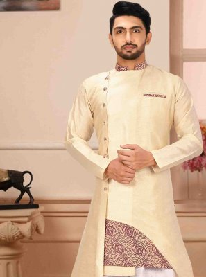 Print Art Silk Kurta Pyjama in Cream