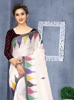 Print Art Silk White Printed Saree