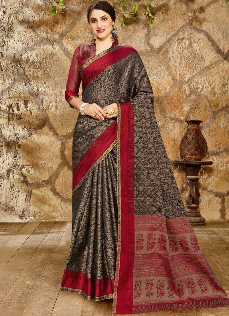 Print Black Art Silk Classic Designer Saree