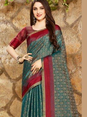 Print Blue Classic Designer Saree