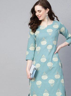 Print Cotton Aqua Blue Casual Kurti