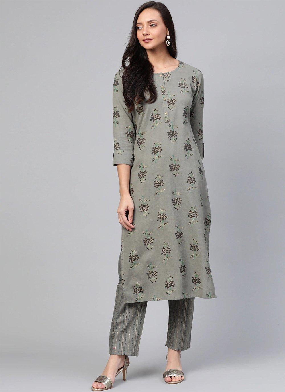 Print Cotton Casual Kurti in Grey