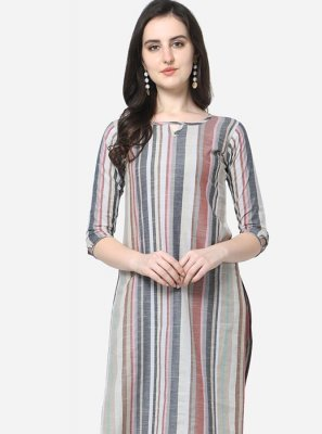 Print Cotton Casual Kurti in Multi Colour