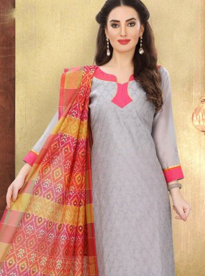 Print Cotton Churidar Designer Suit in Grey