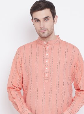 Print Cotton Kurta in Orange