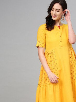 Print Cotton Party Wear Kurti in Mustard
