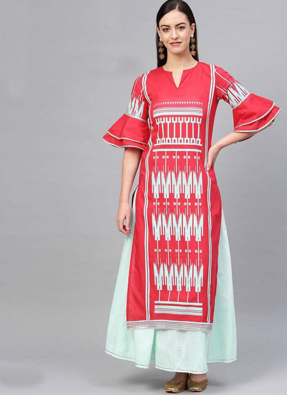 Print Cotton Red Salwar Suit