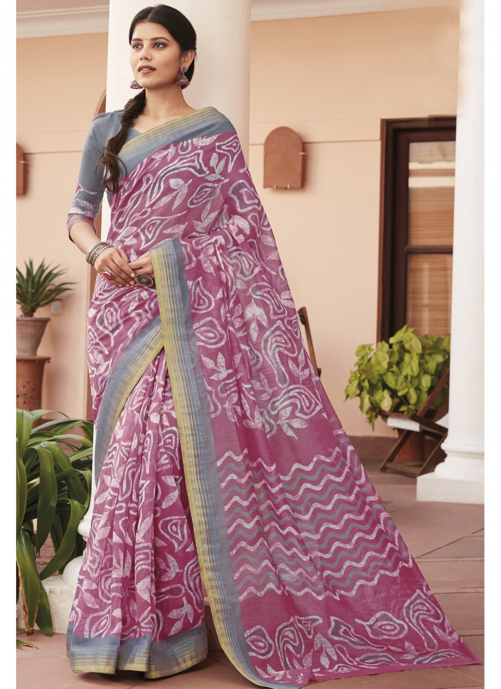 Print Cotton Silk Multi Colour Saree