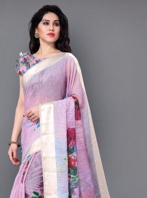 Print Cotton Trendy Saree in Lavender