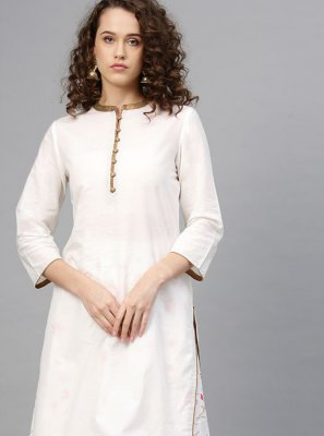 Print Cotton White Party Wear Kurti