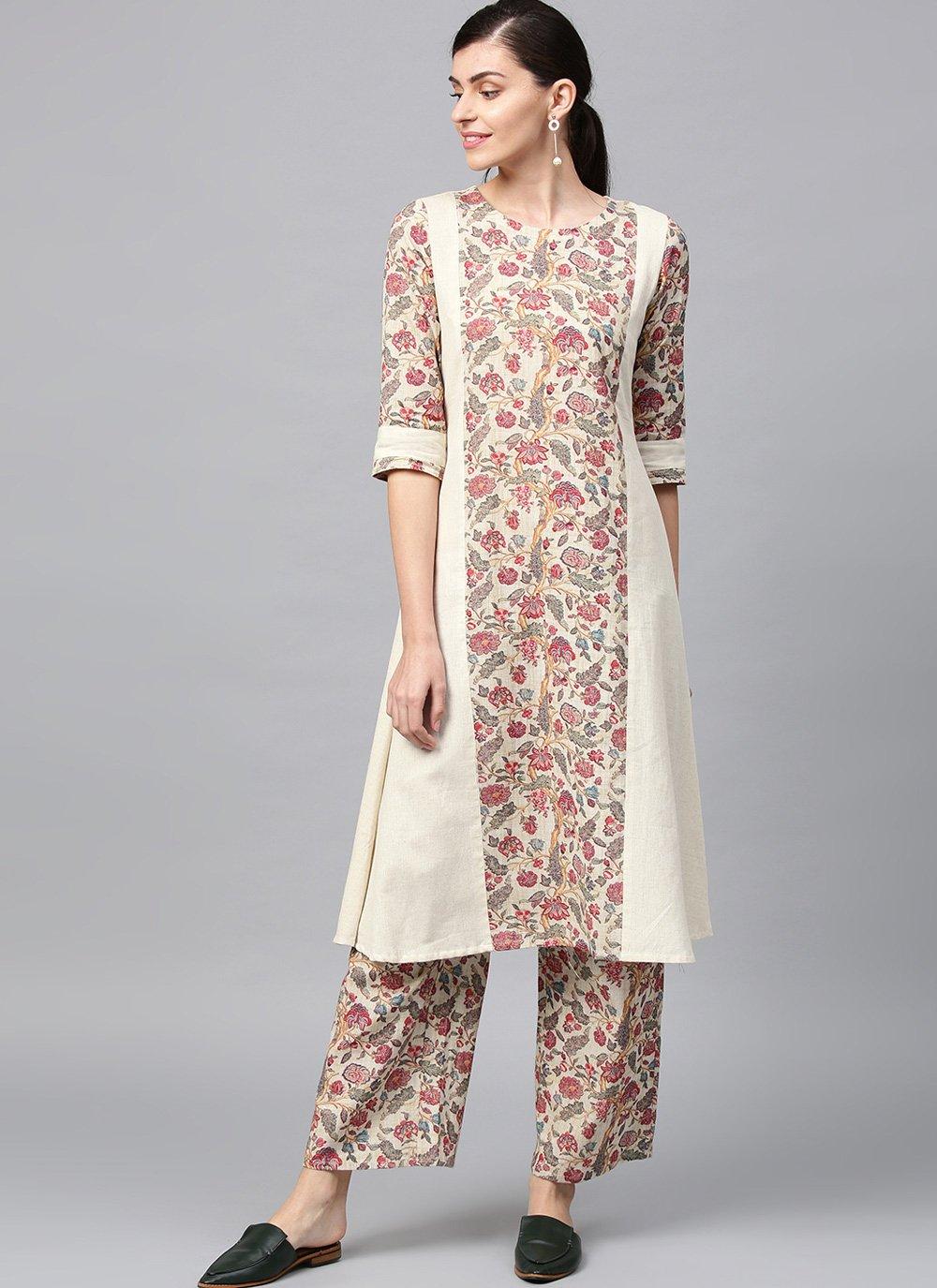 Print Fancy Fabric Off White Casual Kurti
