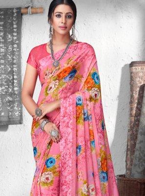 Print Faux Chiffon Designer Saree in Pink