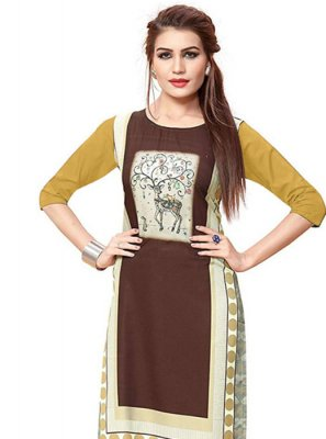 Print Faux Crepe Casual Kurti in Multi Colour