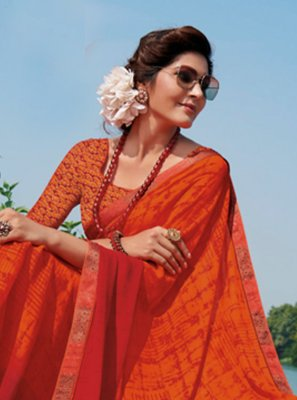 Print Georgette Classic Designer Saree in Orange