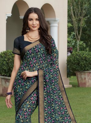 Print Georgette Navy Blue Saree