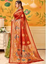 Print Green And Red Casual Saree