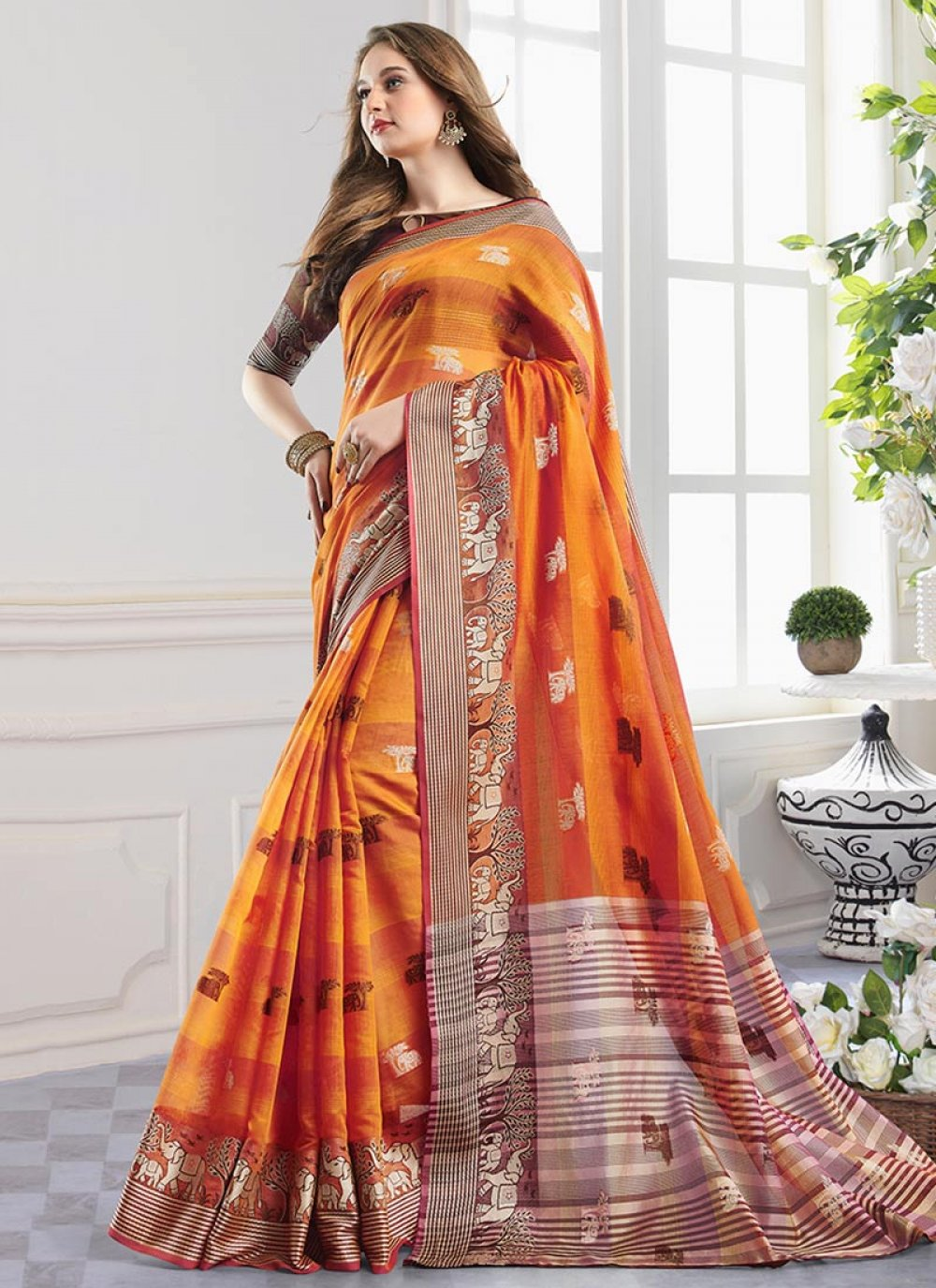 Print Handloom Cotton Orange Shaded Saree