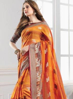 Print Handloom Cotton Orange Shaded Saree