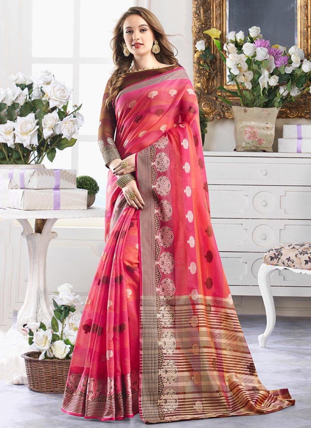 Print Handloom Cotton Shaded Saree in Multi Colour