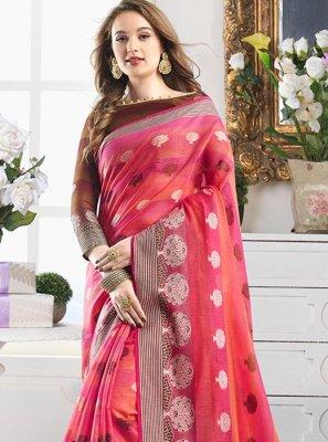 Print Handloom Cotton Shaded Saree in Multi Colour