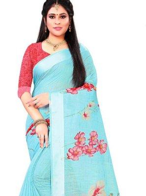 Print Linen Saree in Aqua Blue