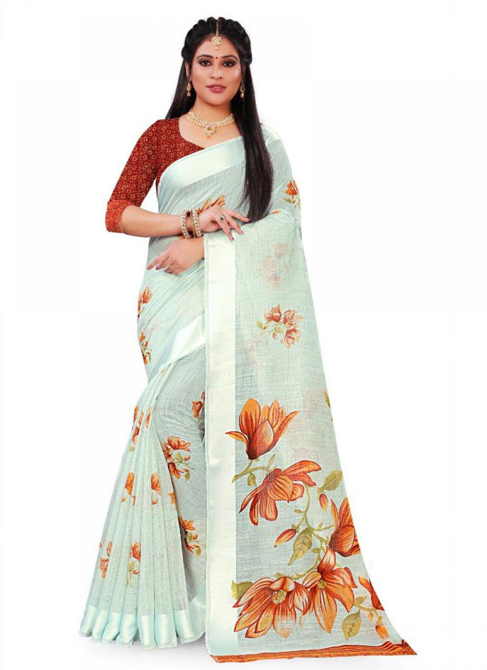Print Linen Saree in Blue