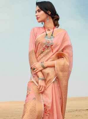 Print Linen Trendy Saree in Peach