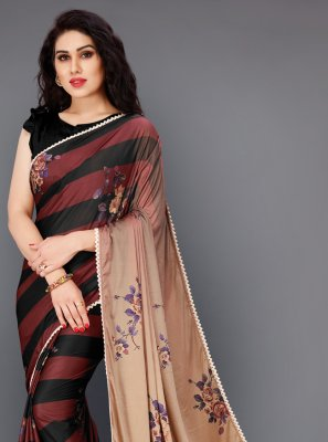 Print Lycra Classic Saree in Multi Colour