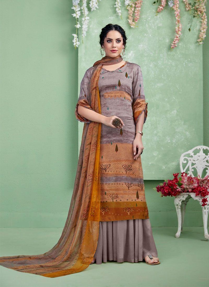 Print Multi Colour Cotton Palazzo Salwar Suit