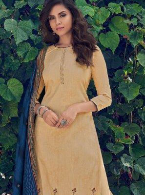Print Mustard Cotton Designer Pakistani Salwar Suit