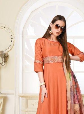 Print Orange Muslin Salwar Kameez