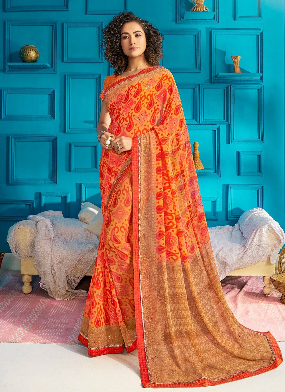 Print Orange Trendy Saree