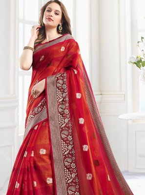 Print Red Shaded Saree