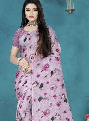 Print Satin Silk Printed Saree in Purple