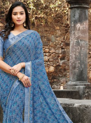 Print Satin Silk Silk Saree in Blue