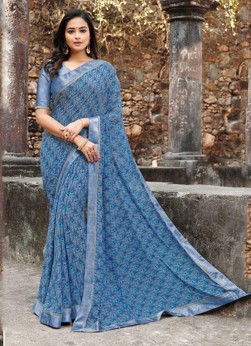 Print Satin Silk Silk Saree in Blue