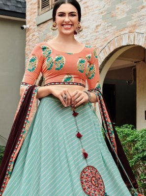 Print Sea Green Rayon Lehenga Choli