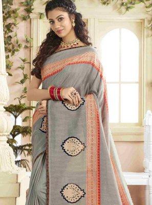 Print Silk Grey Designer Saree