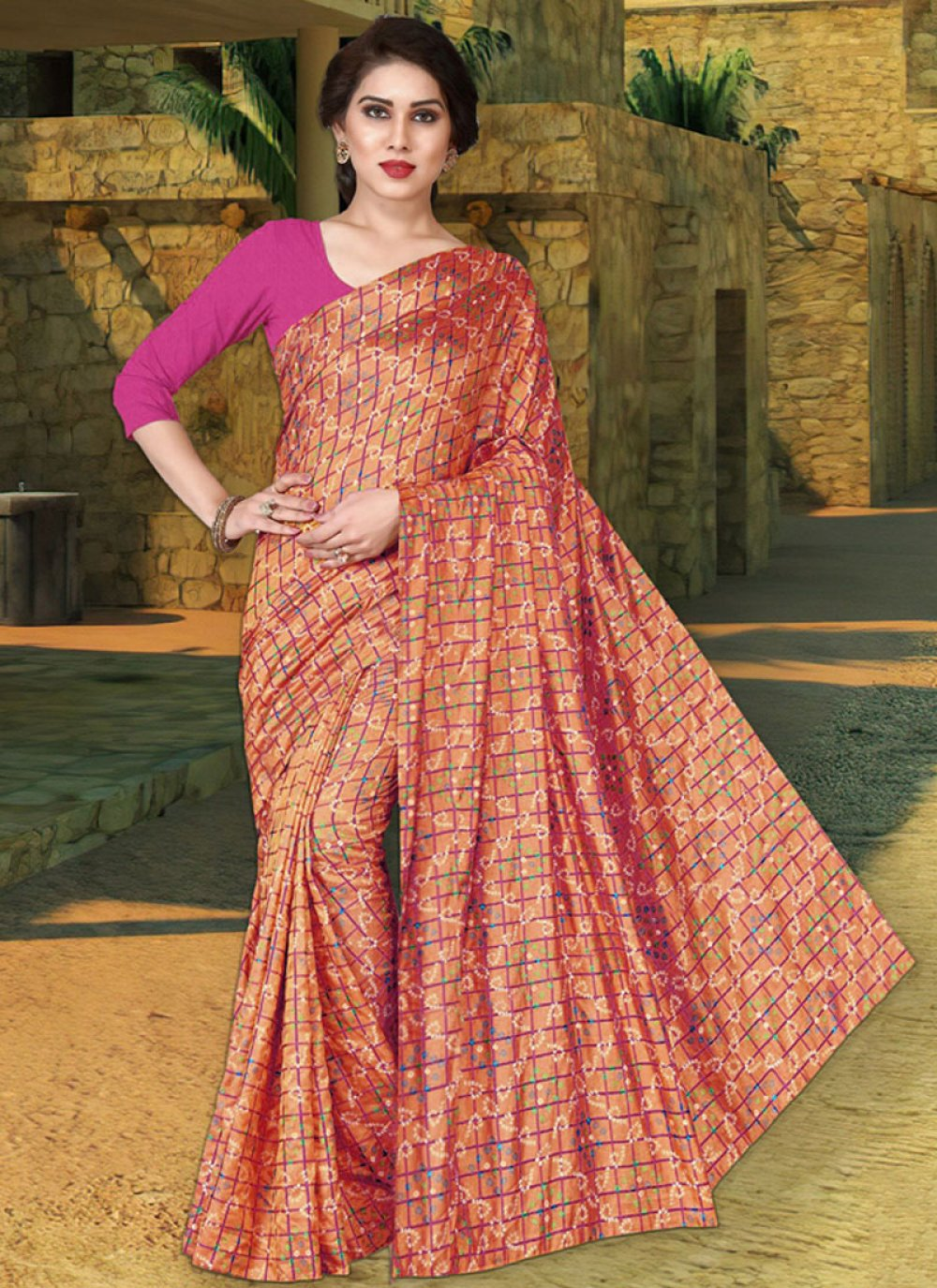 Print Silk Traditional Saree in Red