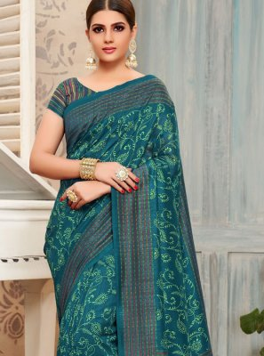 Print Teal Traditional Saree