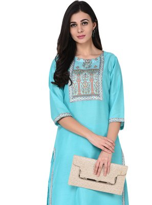 Print Turquoise Party Wear Kurti