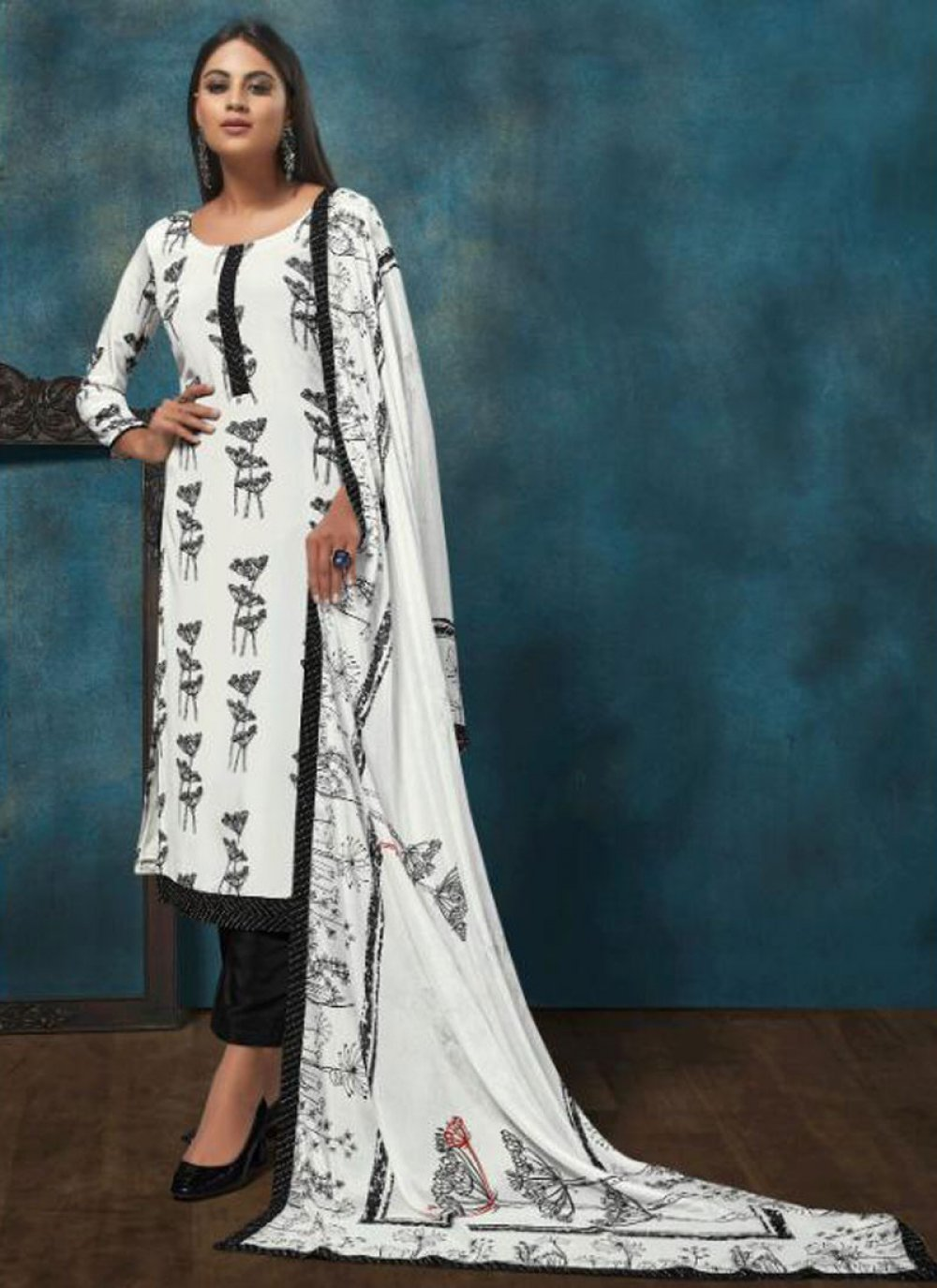 Print White Chinon Designer Salwar Suit