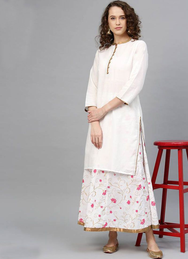 Print White Cotton Salwar Kameez