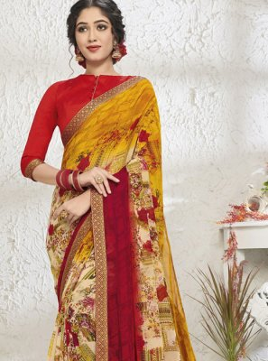 Print Yellow Designer Saree