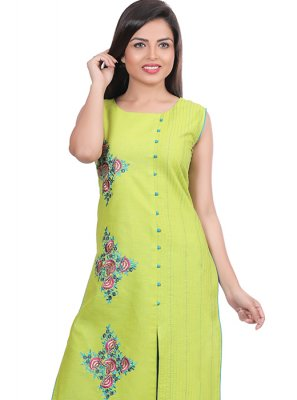 Print Yellow Party Wear Kurti