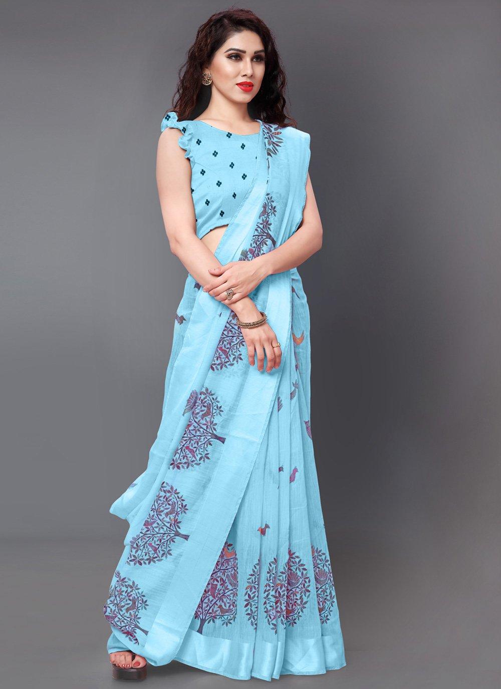 Printed Aqua Blue Designer Saree