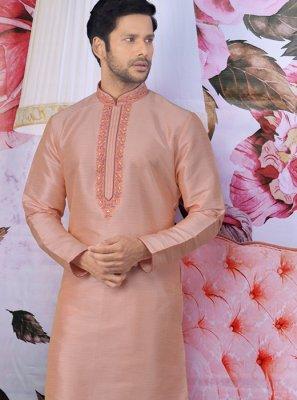 Printed Art Banarasi Silk Kurta Pyjama in Peach