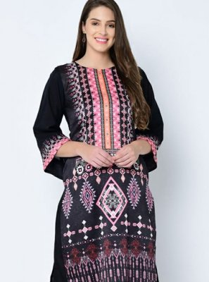Printed Art Silk Black Casual Kurti