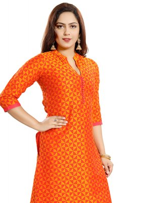 Printed Art Silk Casual Kurti