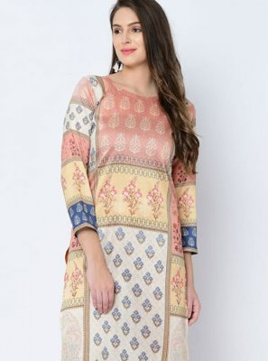 Printed Art Silk Casual Kurti in Multi Colour